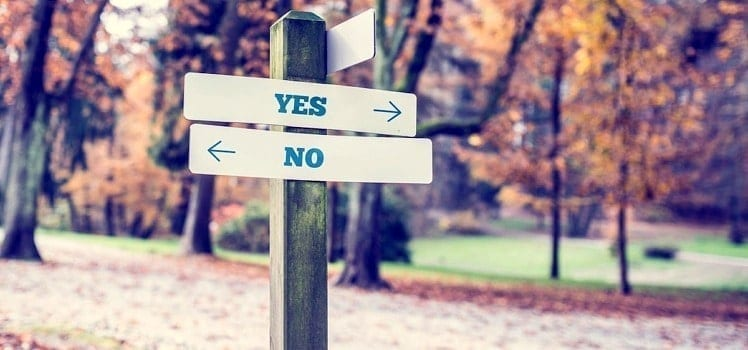 sign with yes and no