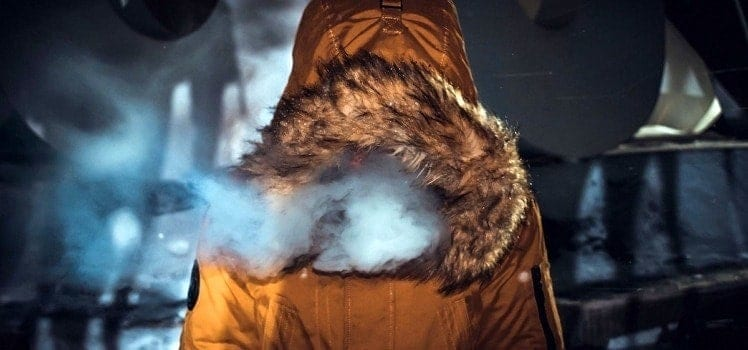 person in winter parka