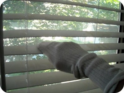 old sock to clean blinds