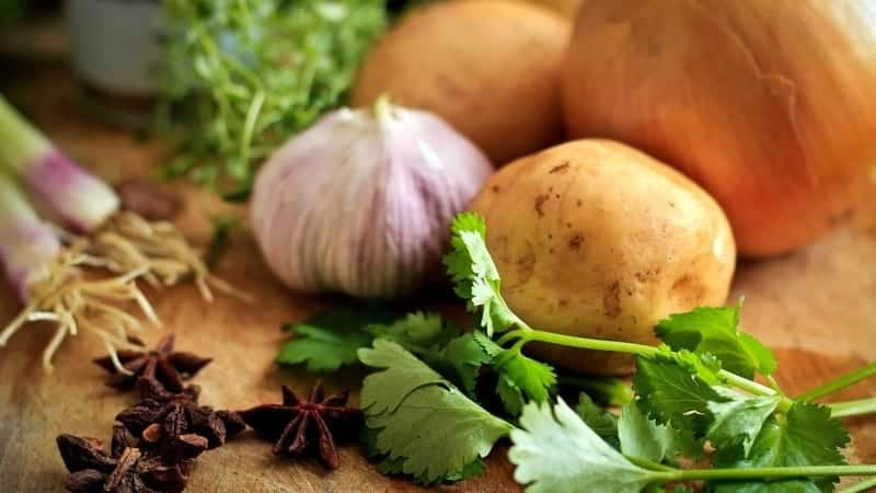 vegetables and potatoes