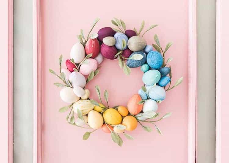 crepe paper egg wreath