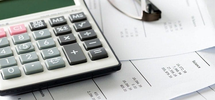 calculator and budget sheet