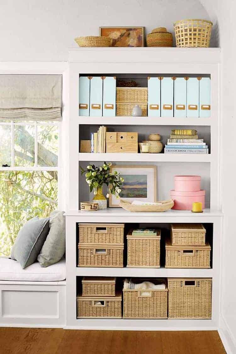 baskets in bookshelves
