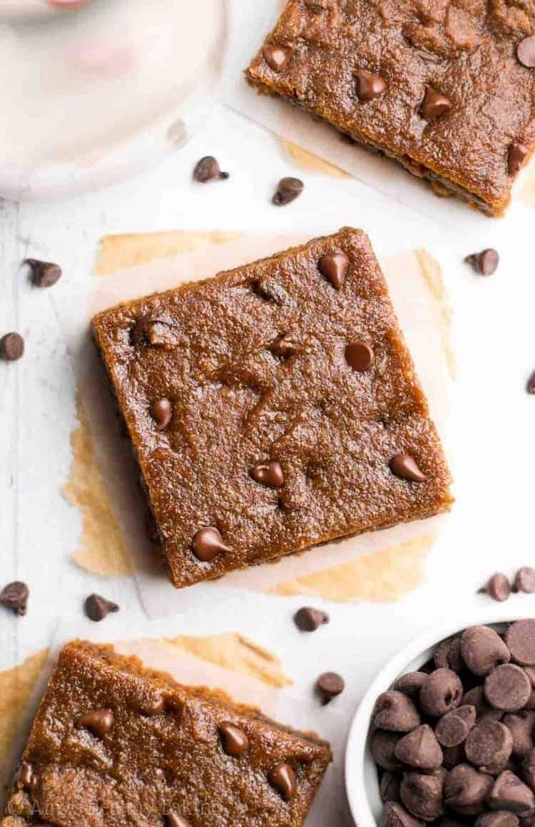 Skinny chocolate chip cookie bars