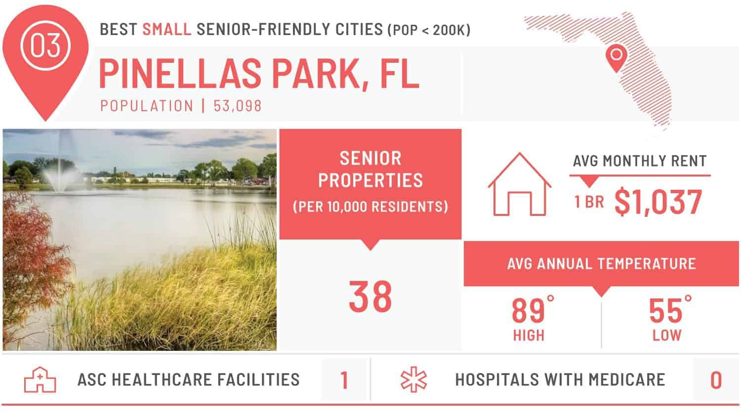 visual of the best small city for seniors - pinellas park