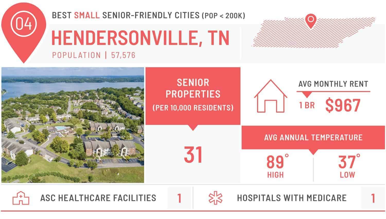 visiual of the best small city for seniors - hendersonville