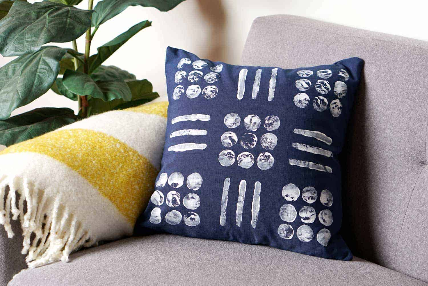 diy mudcloth pillow on a couch