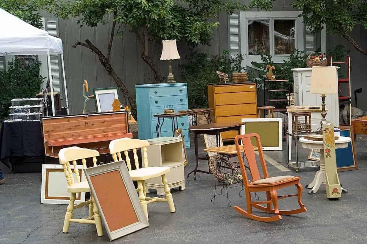 furniture at a garage sale