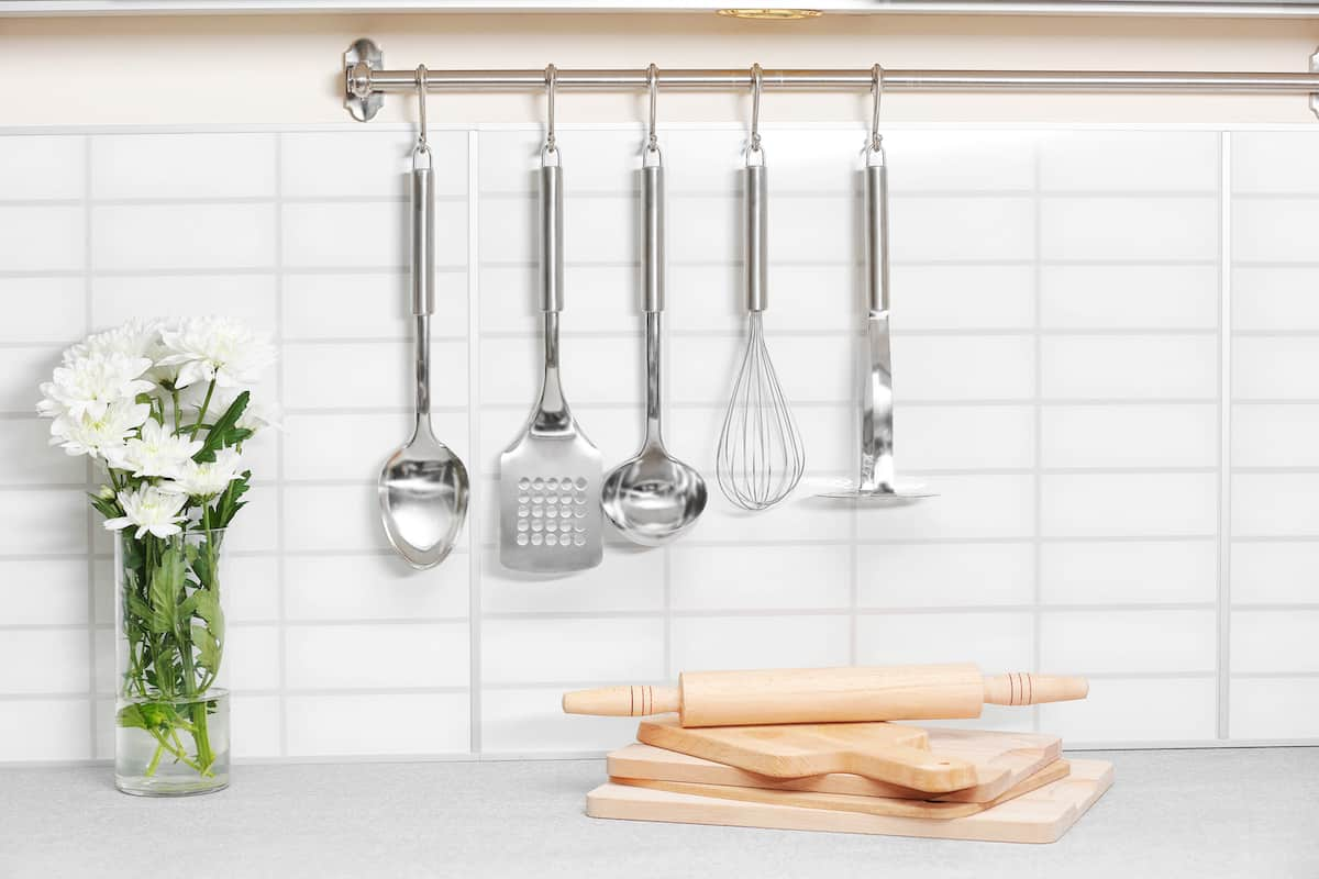 cooking utensils on wall
