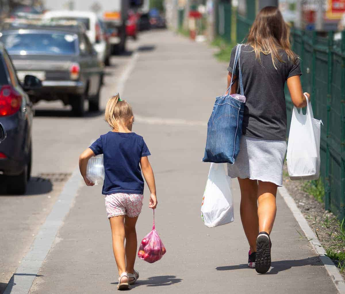 walking with groceries