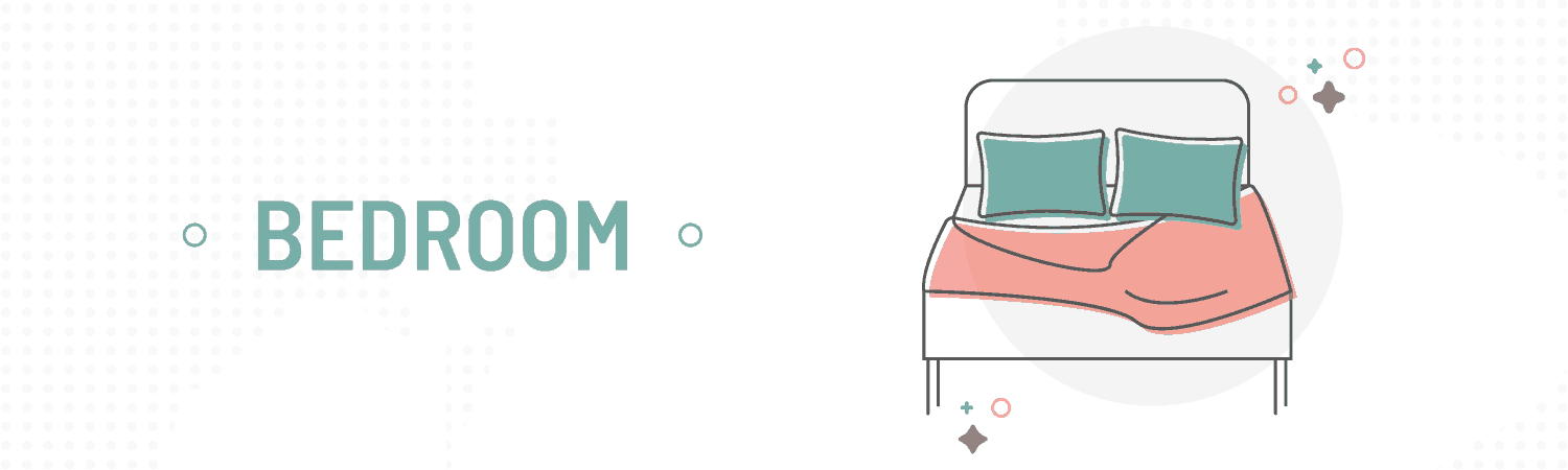 visual that shows a bed and the word bedroom