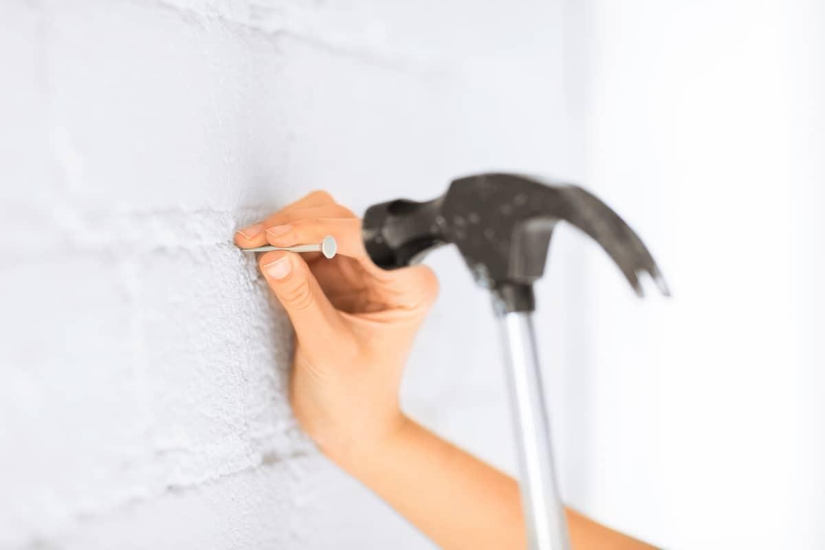 Nailing into wall