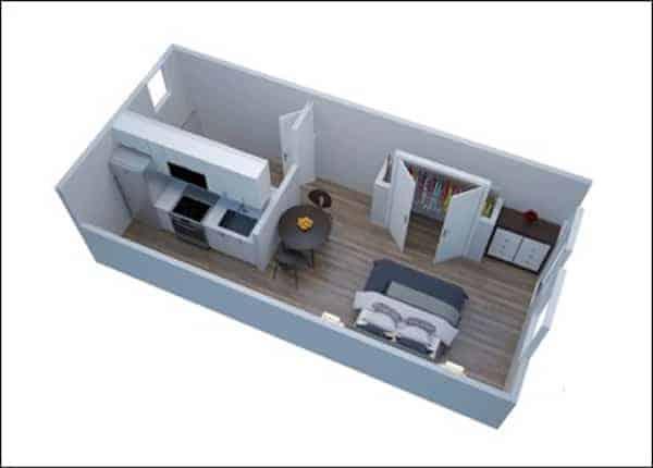 efficiency apartment floorplan