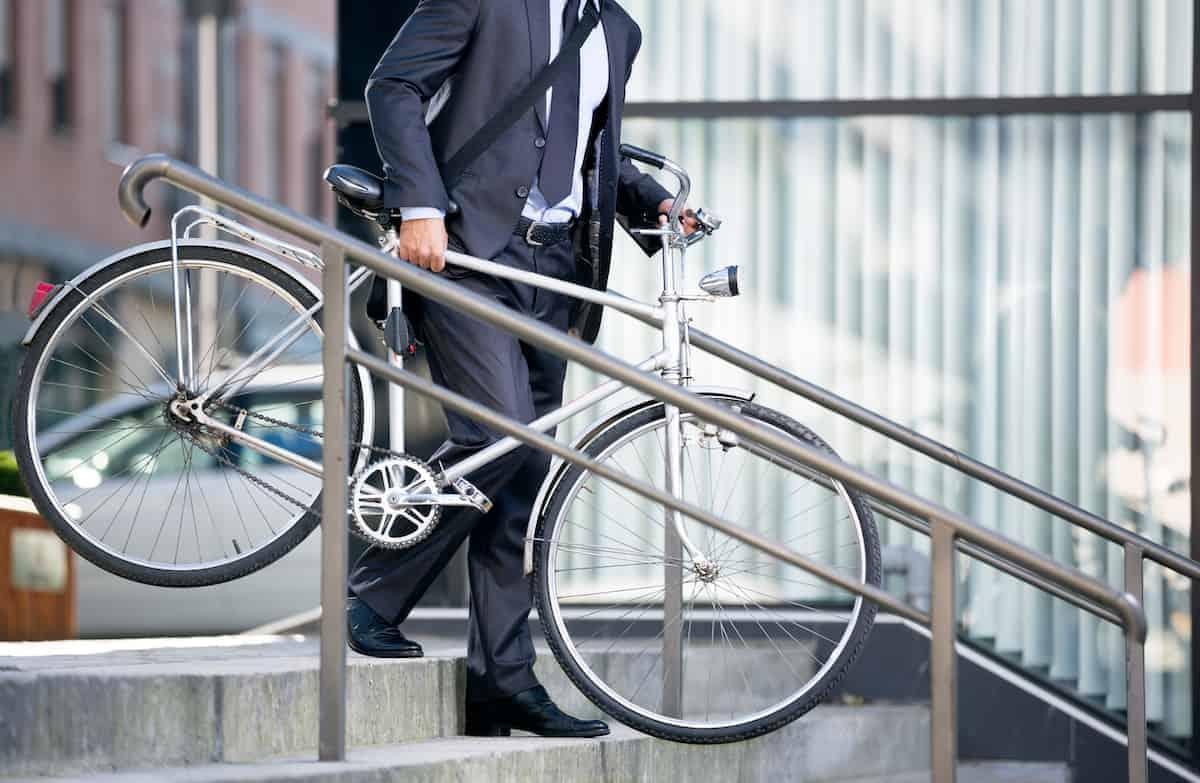 man biking to work