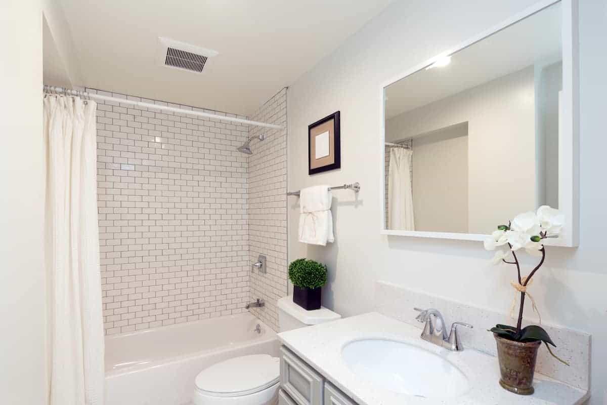 photo of a college apartment bathroom