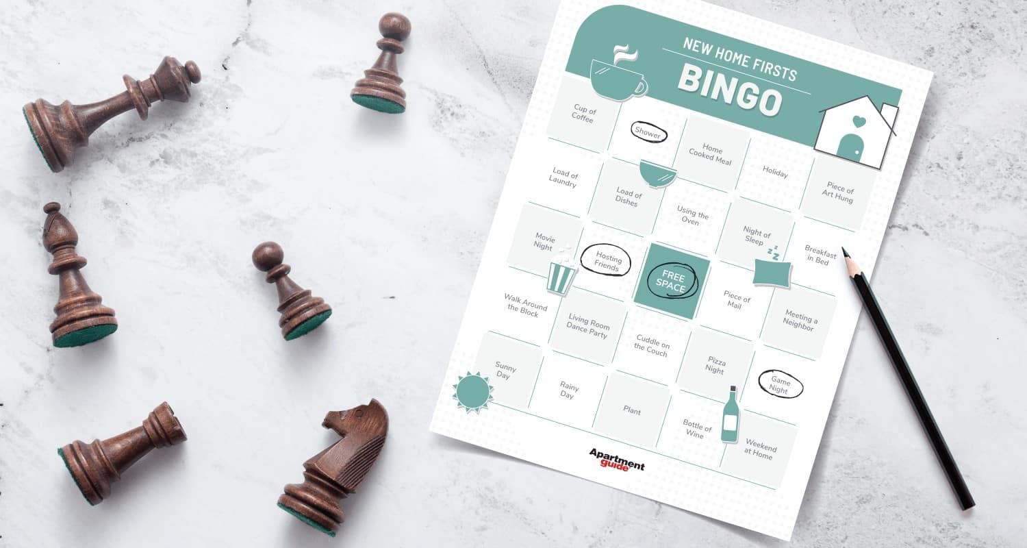 Photo that shows bingo board of new home firsts