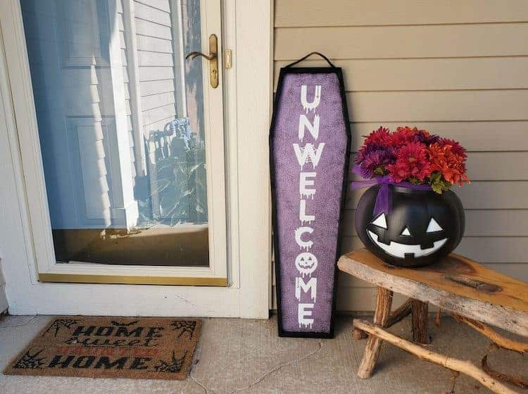 wooden coffin sign