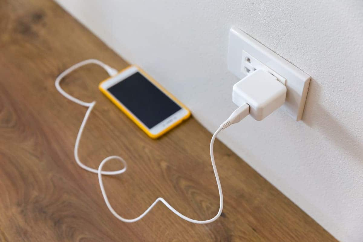 cell phone plugged in