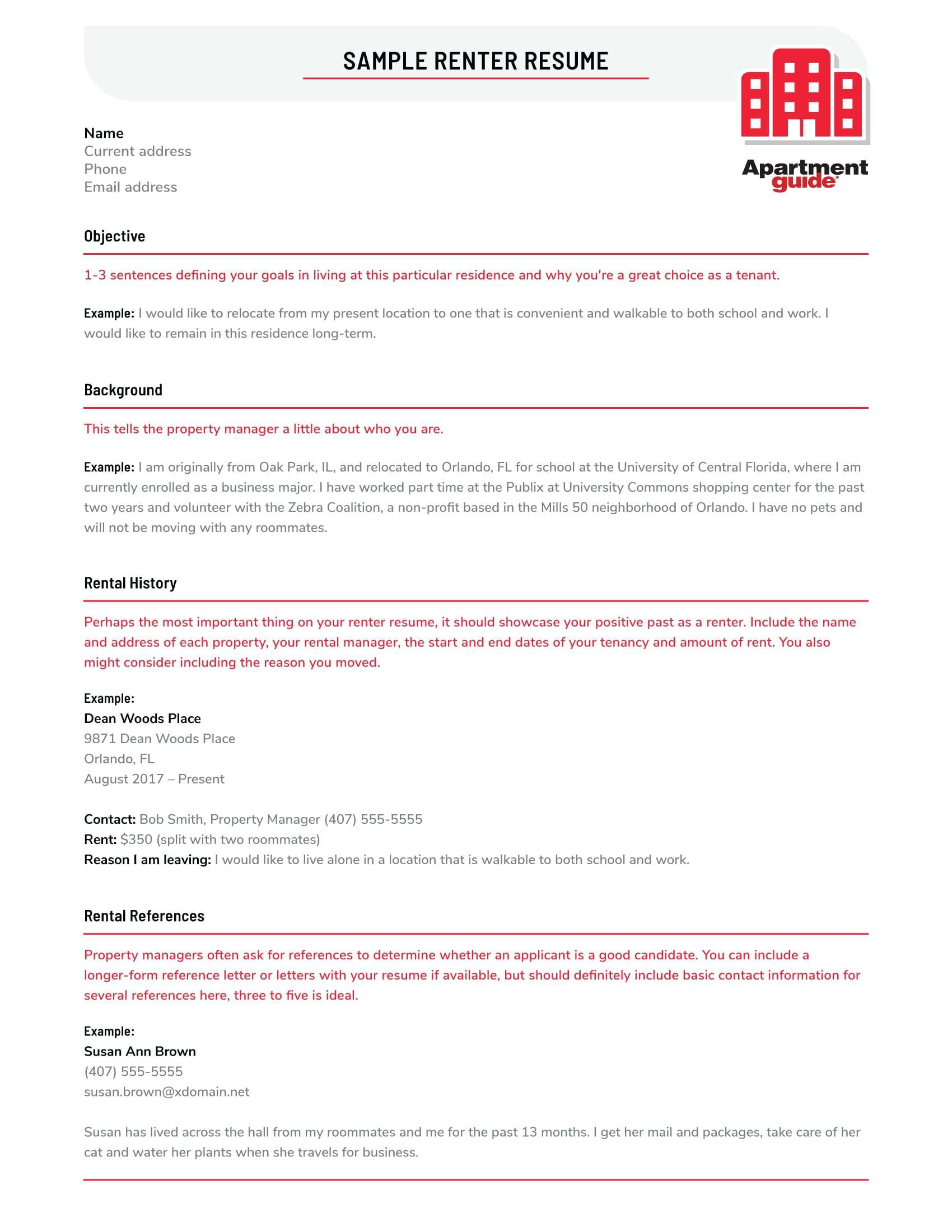 sample renter resume