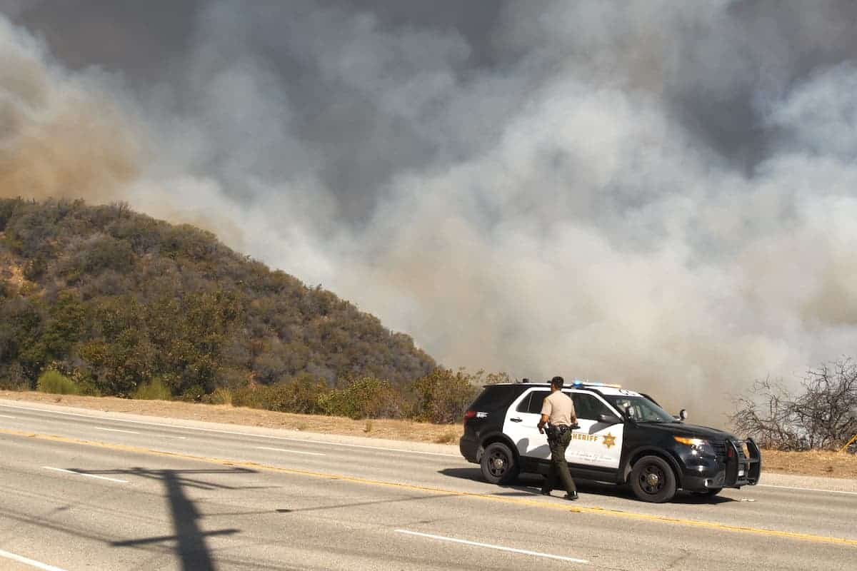 police at wildfire