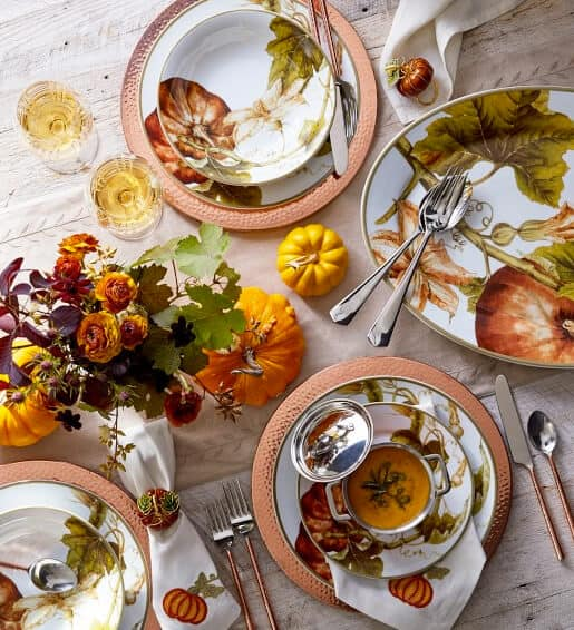 Autumnal plates with vintage botanicals