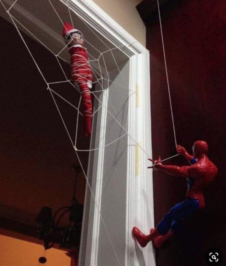spiderman traps elf