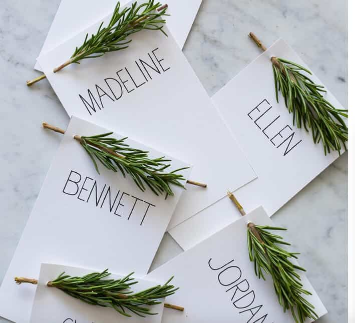 Pretty rosemary-infused place cards