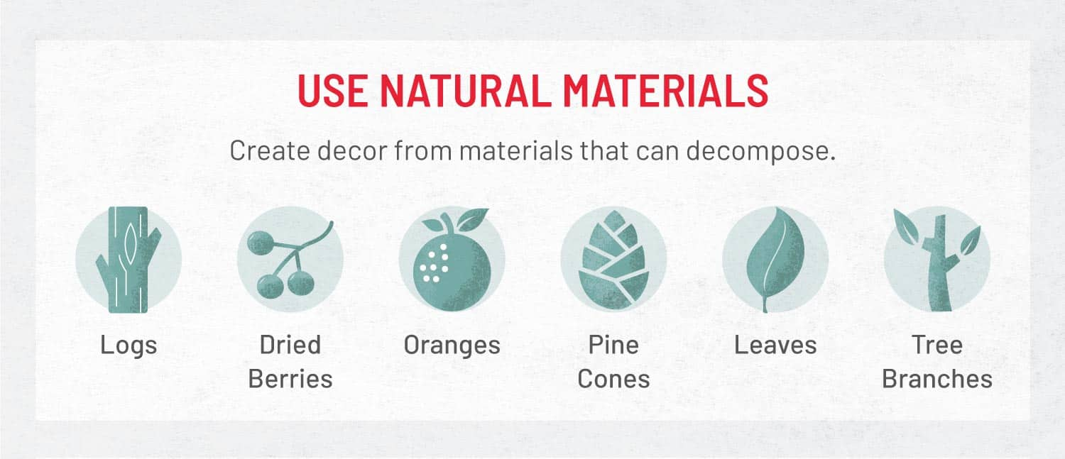 graphic that shows natural decor ideas