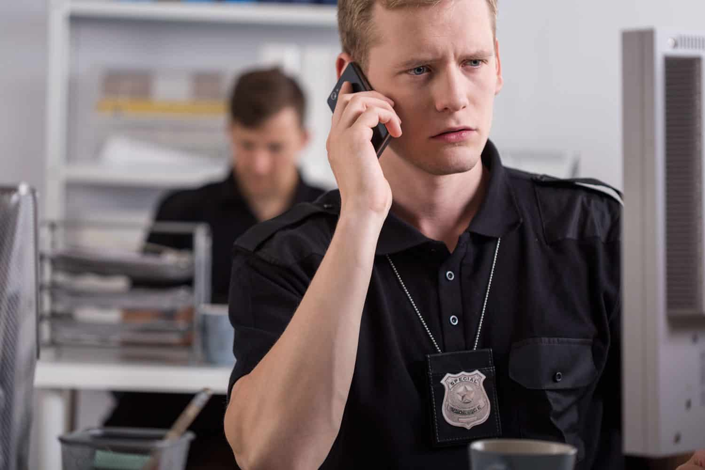 policeman on phone