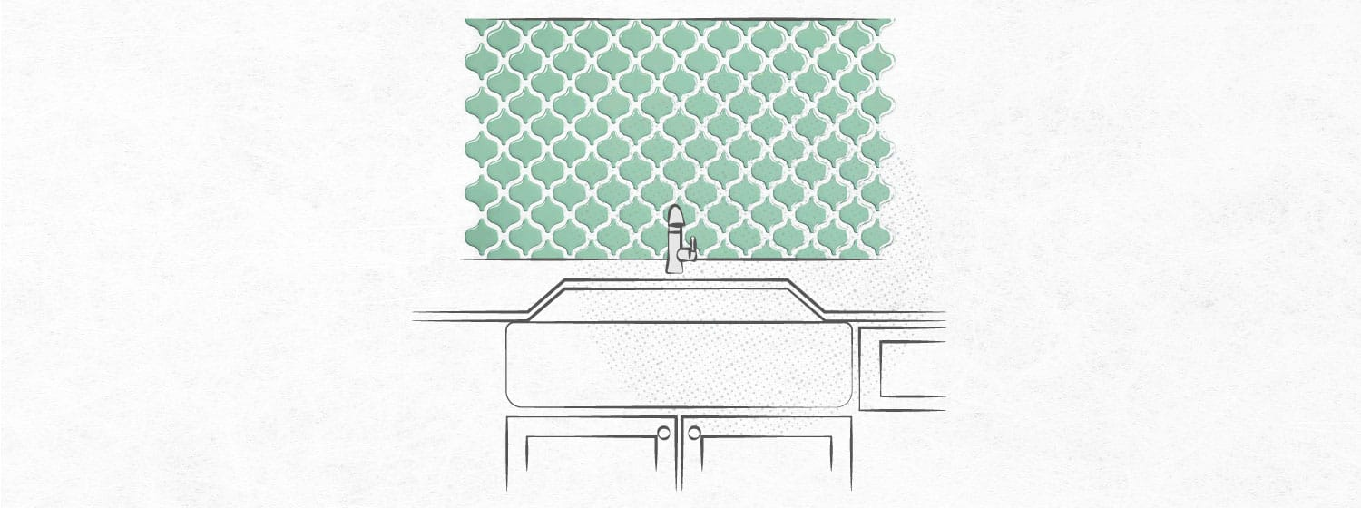 Graphic that shows a backsplash made of contact paper