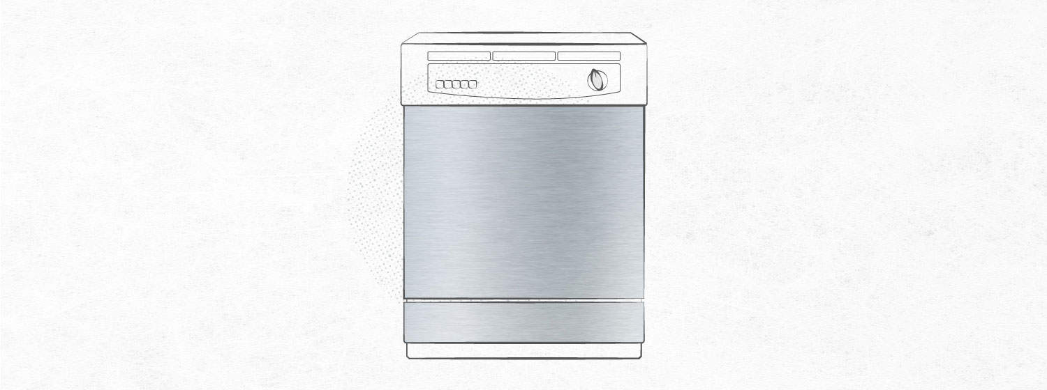 graphic that shows stainless steel contact paper on dishwasher