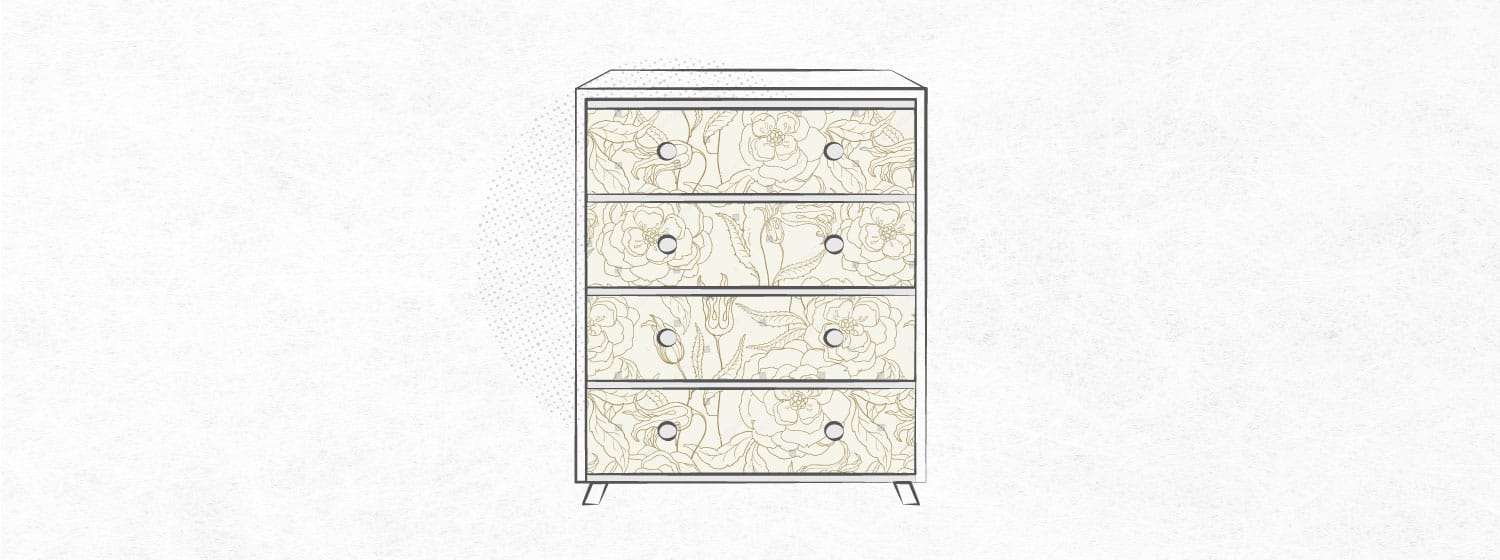 graphic that shows a dresser with contact paper