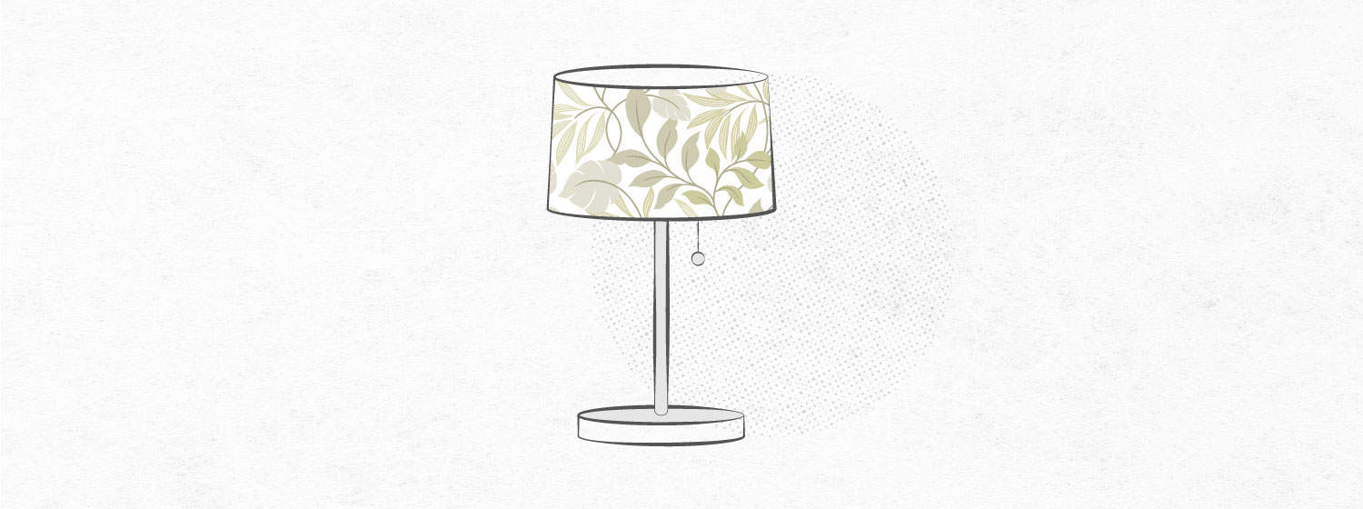 graphic that shows a lampshade made with contact paper
