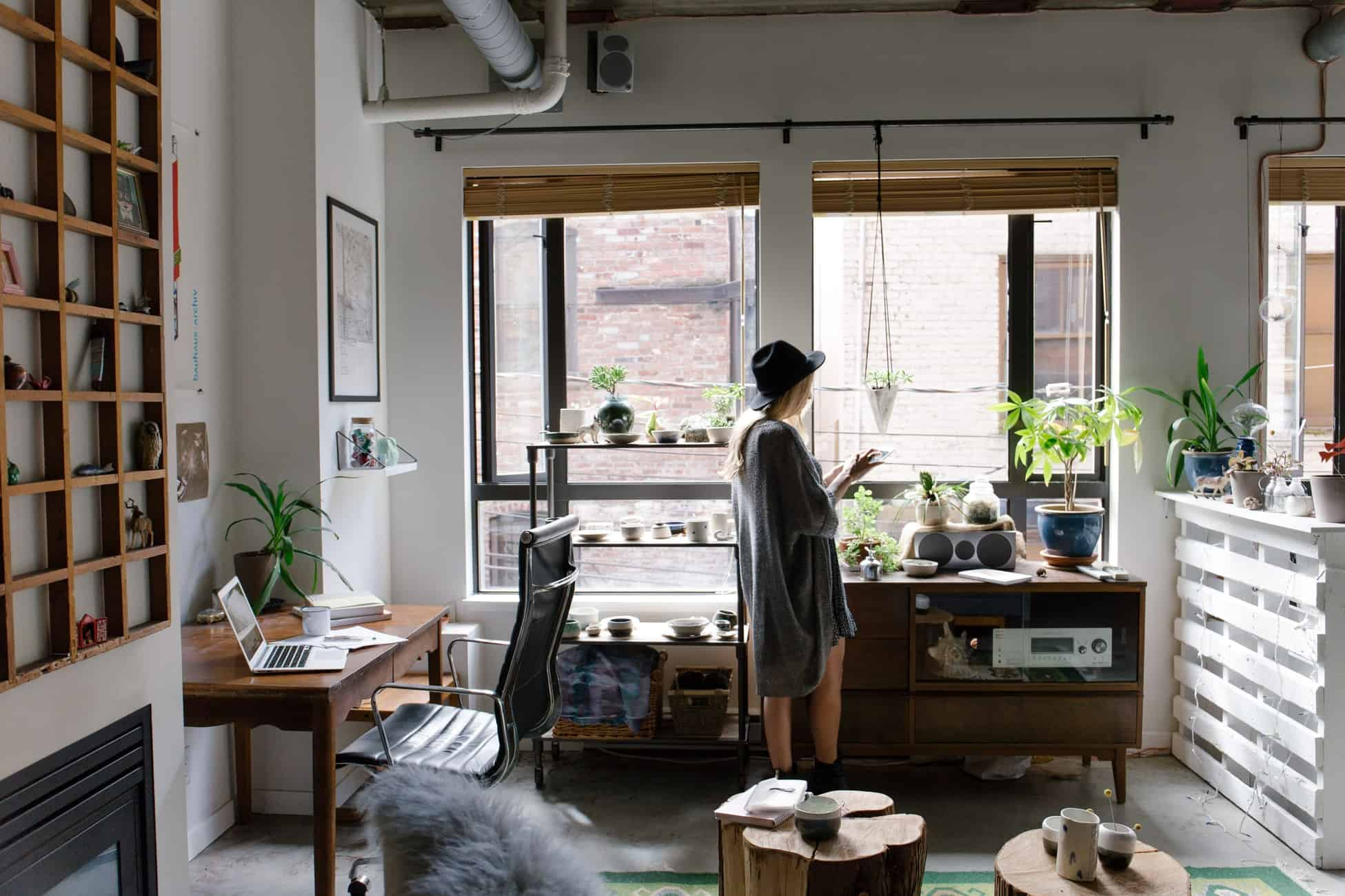 woman in trendy apartment