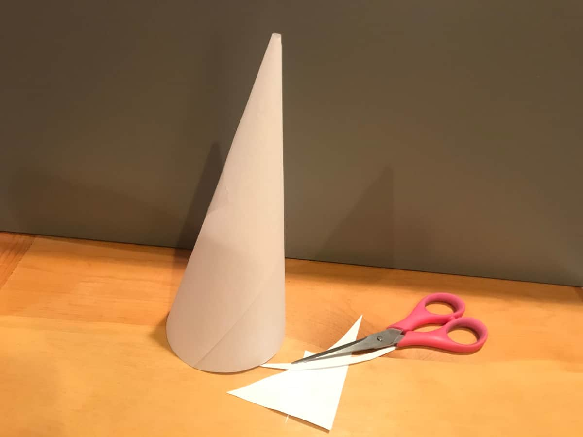 trim the paper cone so it can stand freely