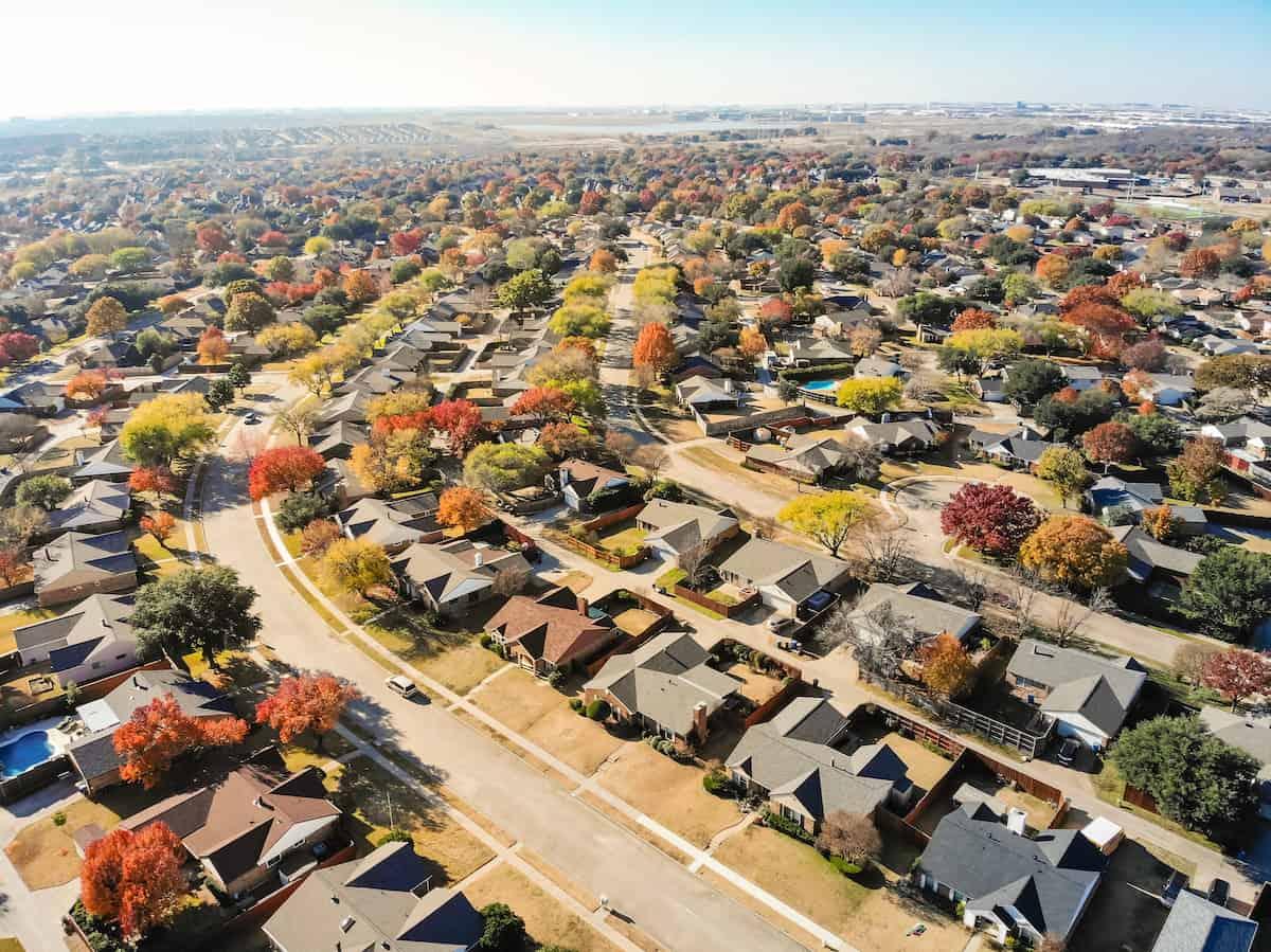 aerials of suburbs