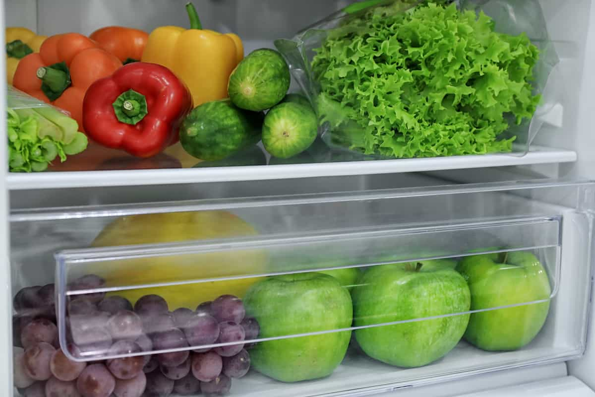 veggies in refrigerator