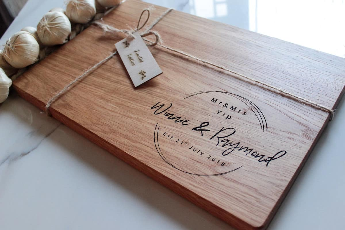 personalized wood cutting board with names and wedding date