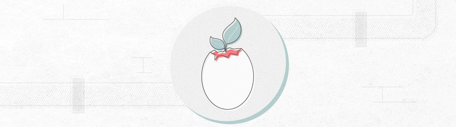 graphic that shows plant growing in an egg shell