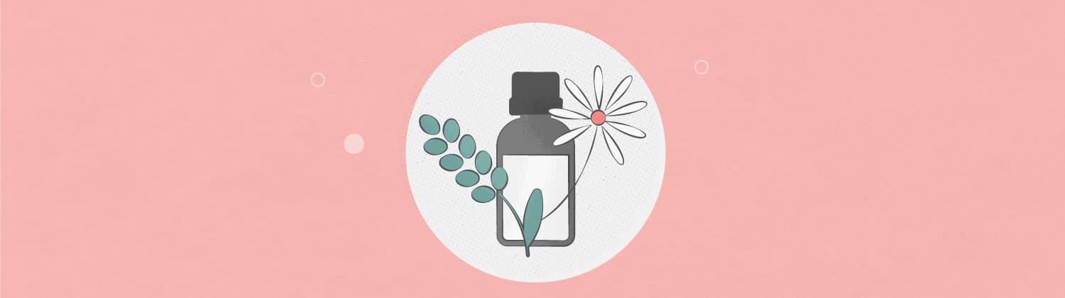illustration of lavender and chamomile essential oils