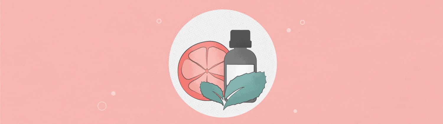 Illustration of citrus and peppermint essential oils