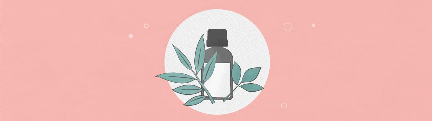 Illustration of tea tree and eucalyptus essential oils