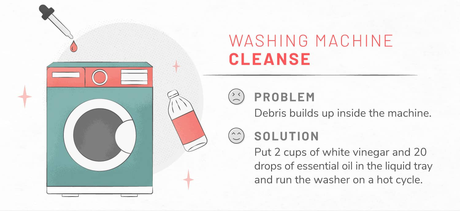 Illustration of essential oils being used in washing machine