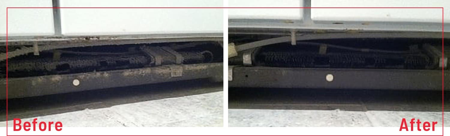 photo of before and after cleaning refrigerator coils