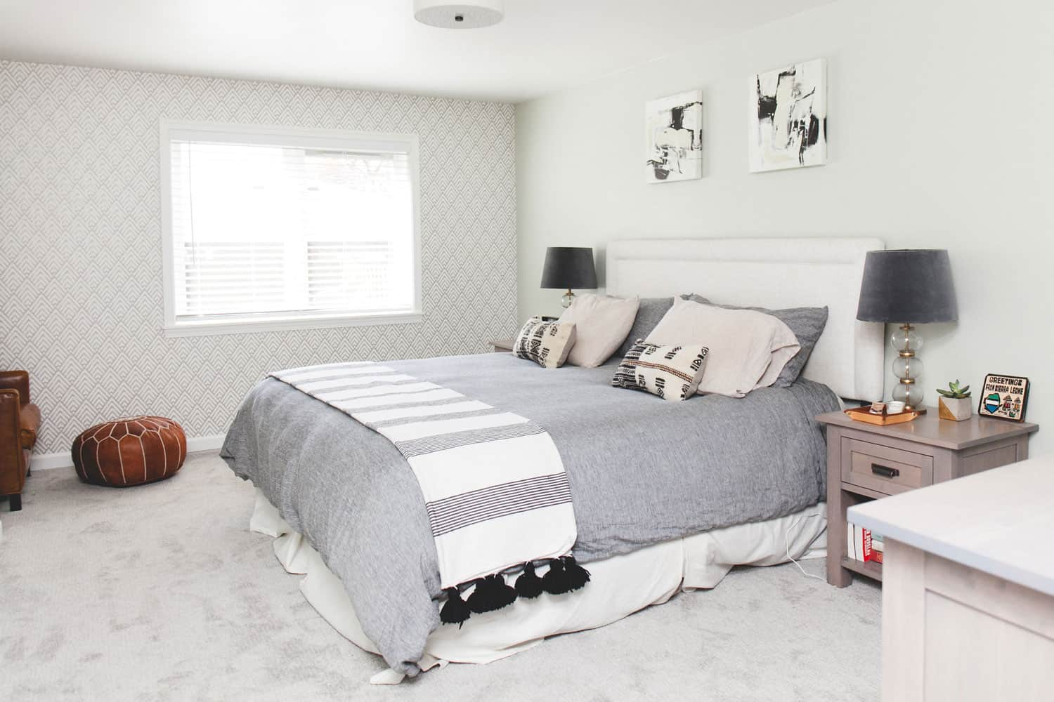 photo of bed with a gray duvet