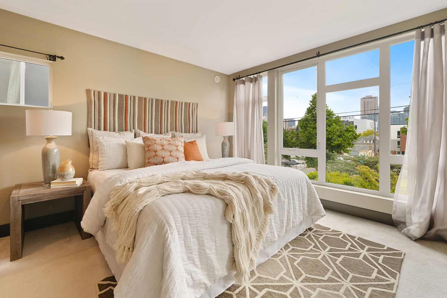 photo of a bright bedroom