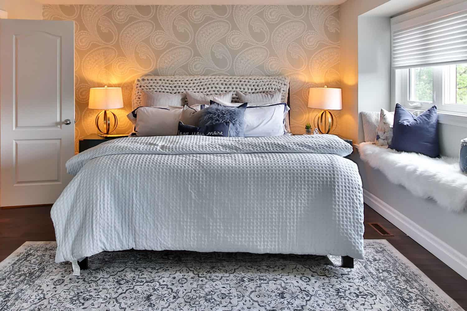 photo of bedroom with an accent wall