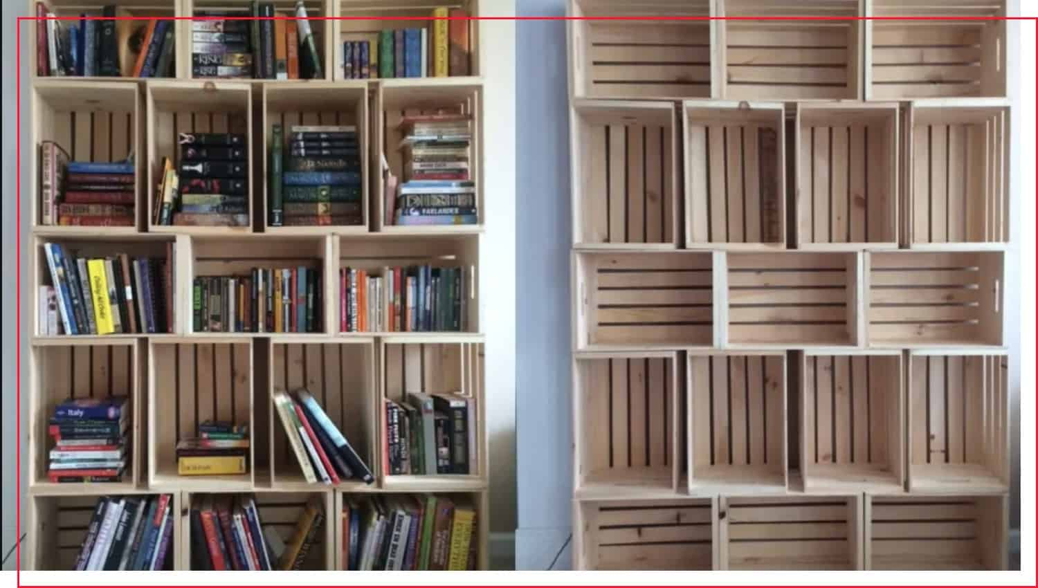photo that shows crate bookshelf layouts