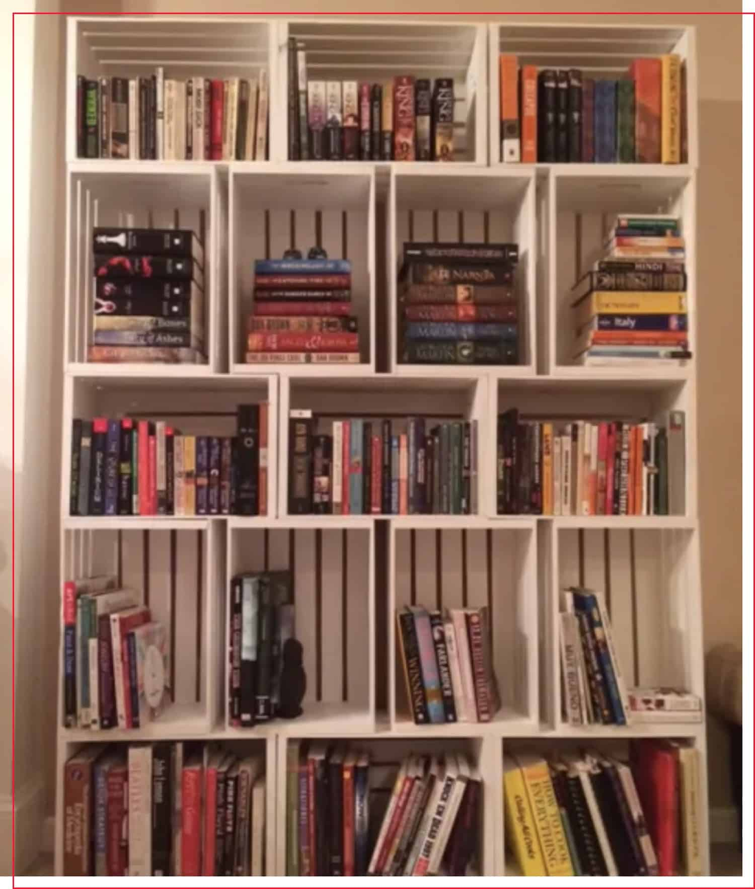 photo that shows a finished crate bookshelf
