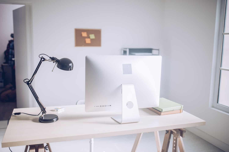 photo of a light on a desk